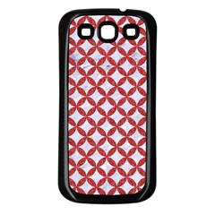Circles3 White Marble & Red Denim (r) Samsung Galaxy S3 Back Case (black) by trendistuff