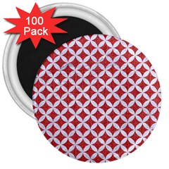 Circles3 White Marble & Red Denim 3  Magnets (100 Pack) by trendistuff