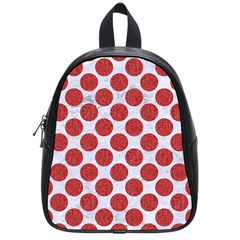 Circles2 White Marble & Red Denim (r) School Bag (small) by trendistuff