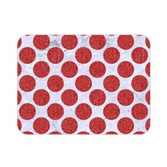 Circles2 White Marble & Red Denim (r) Double Sided Flano Blanket (mini)  by trendistuff