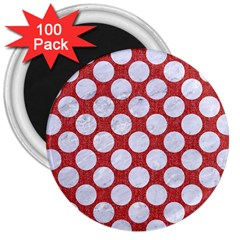 Circles2 White Marble & Red Denim 3  Magnets (100 Pack) by trendistuff