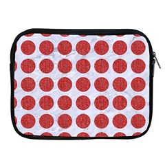 Circles1 White Marble & Red Denim (r) Apple Ipad 2/3/4 Zipper Cases by trendistuff