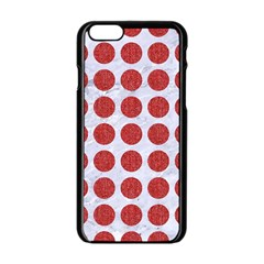 Circles1 White Marble & Red Denim (r) Apple Iphone 6/6s Black Enamel Case