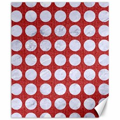 Circles1 White Marble & Red Denim Canvas 8  X 10  by trendistuff