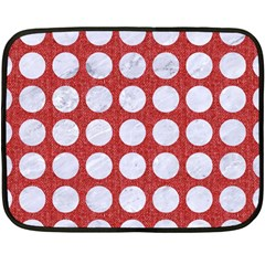Circles1 White Marble & Red Denim Double Sided Fleece Blanket (mini)  by trendistuff