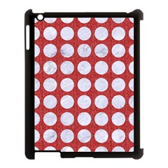 Circles1 White Marble & Red Denim Apple Ipad 3/4 Case (black) by trendistuff