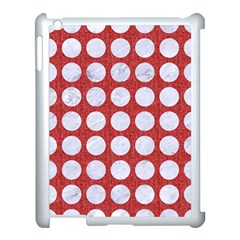 Circles1 White Marble & Red Denim Apple Ipad 3/4 Case (white) by trendistuff