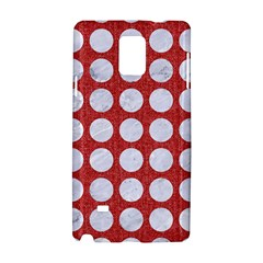 Circles1 White Marble & Red Denim Samsung Galaxy Note 4 Hardshell Case by trendistuff