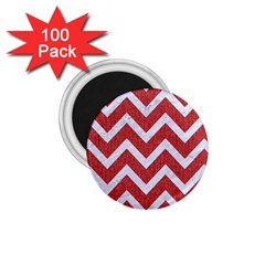 Chevron9 White Marble & Red Denim 1 75  Magnets (100 Pack)  by trendistuff