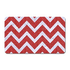 Chevron9 White Marble & Red Denim Magnet (rectangular) by trendistuff
