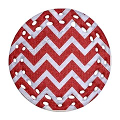 Chevron9 White Marble & Red Denim Ornament (round Filigree) by trendistuff
