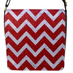 Chevron9 White Marble & Red Denim Flap Messenger Bag (s) by trendistuff