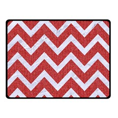 Chevron9 White Marble & Red Denim Double Sided Fleece Blanket (small)  by trendistuff