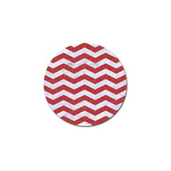 Chevron3 White Marble & Red Denim Golf Ball Marker by trendistuff