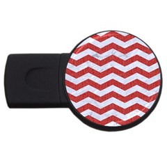 Chevron3 White Marble & Red Denim Usb Flash Drive Round (2 Gb) by trendistuff