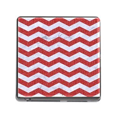Chevron3 White Marble & Red Denim Memory Card Reader (square) by trendistuff
