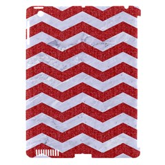 Chevron3 White Marble & Red Denim Apple Ipad 3/4 Hardshell Case (compatible With Smart Cover) by trendistuff