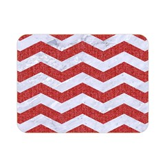 Chevron3 White Marble & Red Denim Double Sided Flano Blanket (mini)  by trendistuff