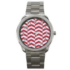 Chevron2 White Marble & Red Denim Sport Metal Watch by trendistuff