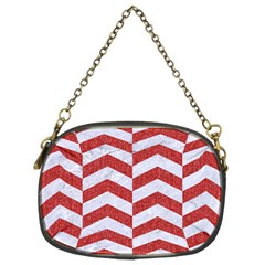 Chevron2 White Marble & Red Denim Chain Purses (two Sides)  by trendistuff