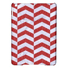 Chevron2 White Marble & Red Denim Ipad Air Hardshell Cases by trendistuff