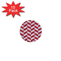 Chevron1 White Marble & Red Denim 1  Mini Buttons (10 Pack)  by trendistuff