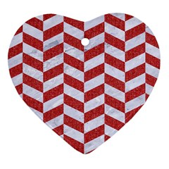 Chevron1 White Marble & Red Denim Heart Ornament (two Sides)