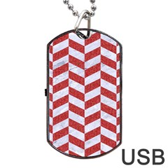 Chevron1 White Marble & Red Denim Dog Tag Usb Flash (two Sides) by trendistuff