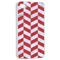 Chevron1 White Marble & Red Denim Apple Iphone 4/4s Seamless Case (white) by trendistuff
