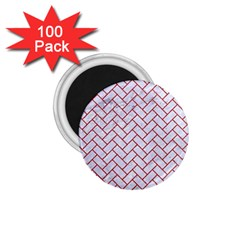 Brick2 White Marble & Red Denim (r) 1 75  Magnets (100 Pack)