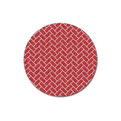 Brick2 White Marble & Red Denim Magnet 3  (round)