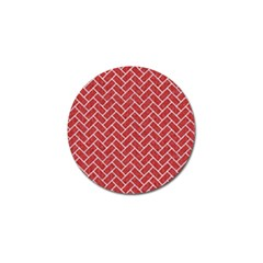 Brick2 White Marble & Red Denim Golf Ball Marker by trendistuff