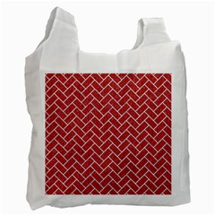 Brick2 White Marble & Red Denim Recycle Bag (one Side) by trendistuff