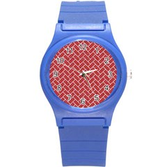 Brick2 White Marble & Red Denim Round Plastic Sport Watch (s) by trendistuff