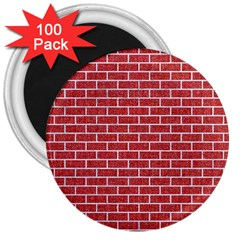 Brick1 White Marble & Red Denim 3  Magnets (100 Pack) by trendistuff