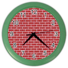 Brick1 White Marble & Red Denim Color Wall Clocks by trendistuff