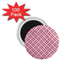 Woven2 White Marble & Red Colored Pencil (r) 1 75  Magnets (100 Pack)  by trendistuff