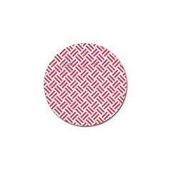 Woven2 White Marble & Red Colored Pencil (r) Golf Ball Marker (10 Pack) by trendistuff