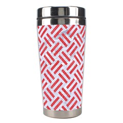 Woven2 White Marble & Red Colored Pencil (r) Stainless Steel Travel Tumblers by trendistuff