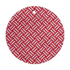 Woven2 White Marble & Red Colored Pencil Round Ornament (two Sides) by trendistuff