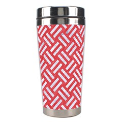 Woven2 White Marble & Red Colored Pencil Stainless Steel Travel Tumblers by trendistuff