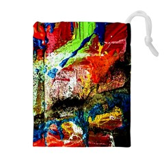 Untitled Red And Blue 3 Drawstring Pouches (extra Large)