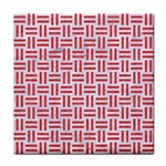 WOVEN1 WHITE MARBLE & RED COLORED PENCIL (R) Tile Coasters Front