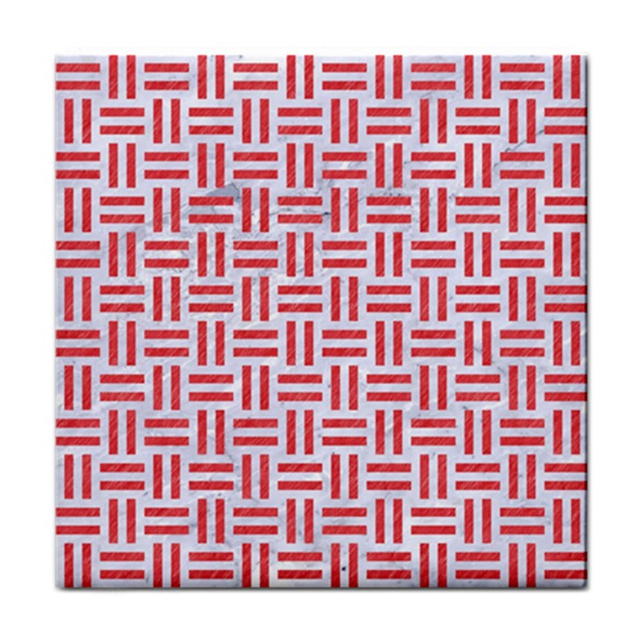 WOVEN1 WHITE MARBLE & RED COLORED PENCIL (R) Tile Coasters