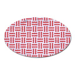 Woven1 White Marble & Red Colored Pencil (r) Oval Magnet by trendistuff