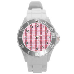 Woven1 White Marble & Red Colored Pencil (r) Round Plastic Sport Watch (l) by trendistuff