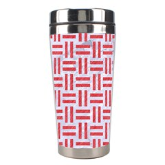 Woven1 White Marble & Red Colored Pencil (r) Stainless Steel Travel Tumblers by trendistuff