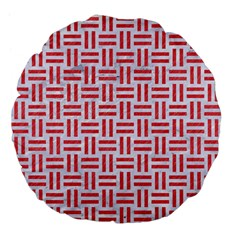 Woven1 White Marble & Red Colored Pencil (r) Large 18  Premium Flano Round Cushions by trendistuff