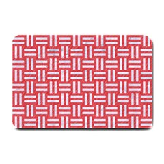 Woven1 White Marble & Red Colored Pencil Small Doormat  by trendistuff