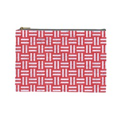 Woven1 White Marble & Red Colored Pencil Cosmetic Bag (large)  by trendistuff